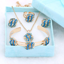 Fashion Girl Jewelry Lovely Crystal Flower Children Necklace Bangle Earring Ring Kids Baby Costume Jewelry Set