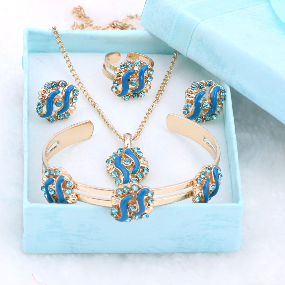 Fashion Girl font b Jewelry b font Lovely Crystal Flower Children Necklace Bangle Earring Ring Kids