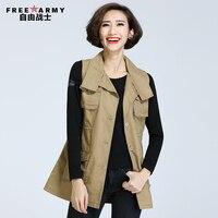 Free Army Outdoor Casual Medium Long Female Vest Pure Cotton Padded Coat Personality Fashion Khaki Turn