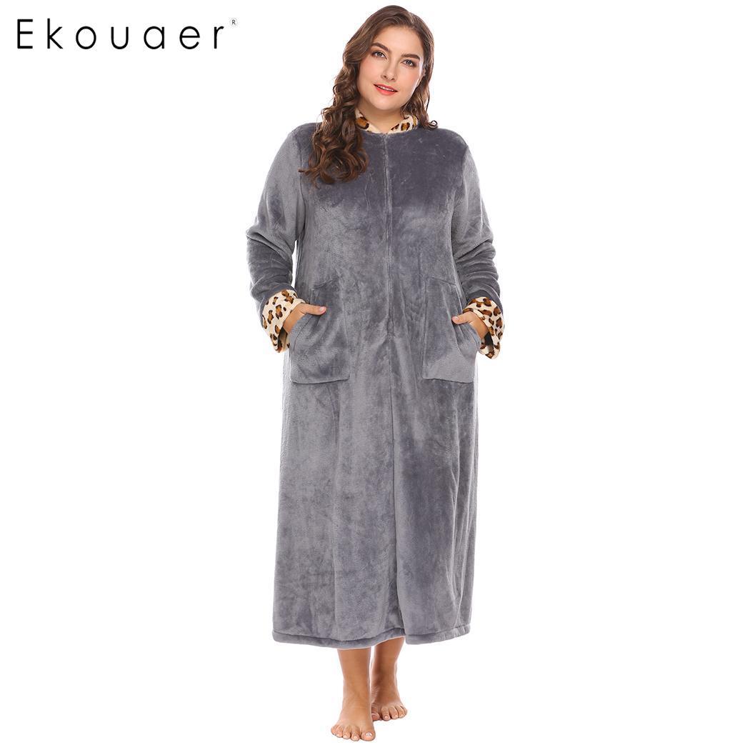 Women plus size robes nightwear warm soft plush fleece bathrobes leopard stand collar trim half zip dressing gown robe