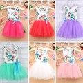 Envío libre 2016 nuevo arco ropa de algodón floral vestido de bola del o-cuello sin mangas de los bebés dress vestidos a223