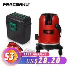 PRACMANU 5 линий 6 очков лазерный уровень автоматическое самонивелирование 360 вертикальные и горизонтальные наклона градусов поворотный LD 650nm открытый режим
