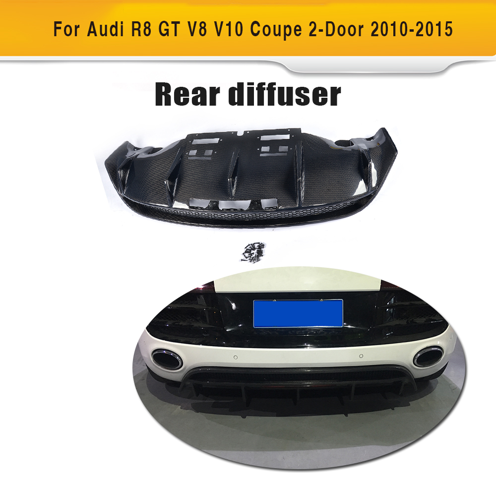 Matt Gloss Carbon Fiber Auto Rear Bumper Exhaust Lip Diffuser for Audi R8 GT V8 V10 2 Door 2010 2015 Black FRP Replacement style