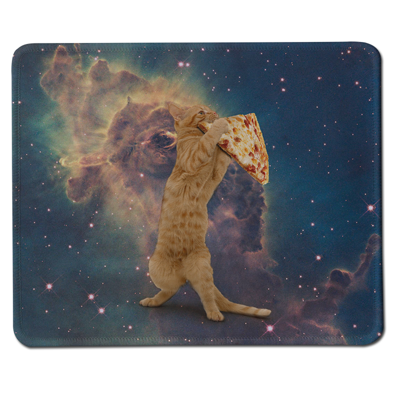 Funny Cat Pizza Picture DIY Custom Black Rubber Gaming Mousepad PC Computer Laptop Gaming Mousepad for Optical Laster Mice Mat