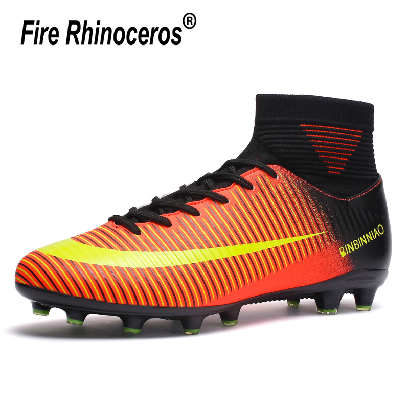 Men Soccer Shoes Long Spikes Lawn Trainers Cleat Centipede Football Boots Man Soccer Artificial Grass Men Sneakers Teenagers