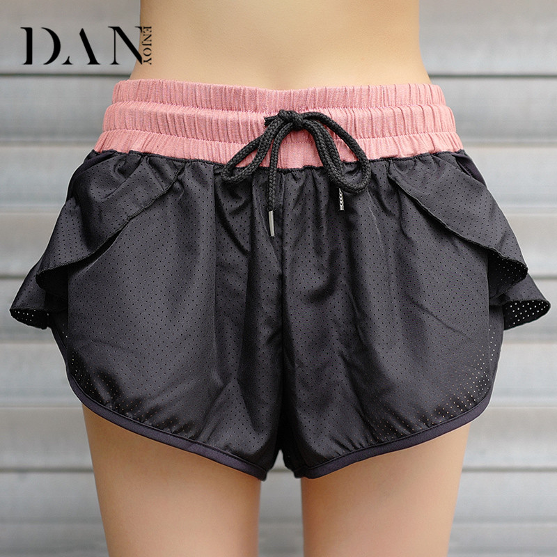 DANENJOY Breathable Quick-drying Sports Running Shorts 2018 Sexy Elastic Band Net Yarn Shorts Solid Gym Fitness Outdoor Walking