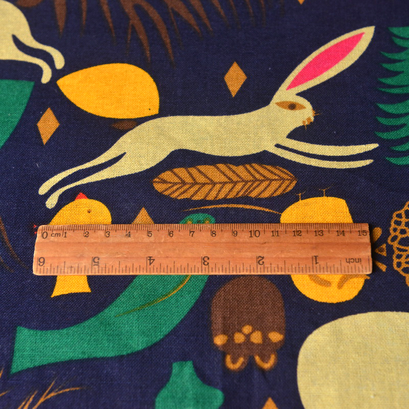 Cartoon Rabbit Brown Bear Cotton Linen Clothing Tablecloth Children 39 s fabric in Fabric from Home amp Garden