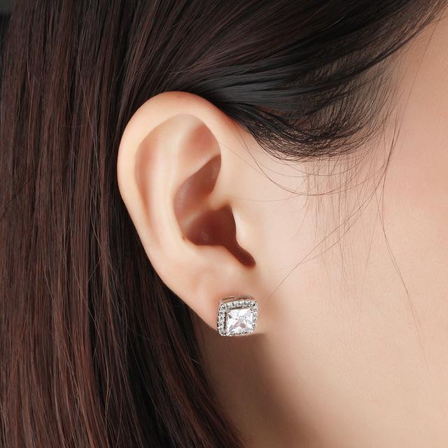 Classic Square 925 Sterling Silver Stud Earrings 6mm Zirconia Earrings for Women Elegant Party Wedding Jewelry (Lam Hub Fong)