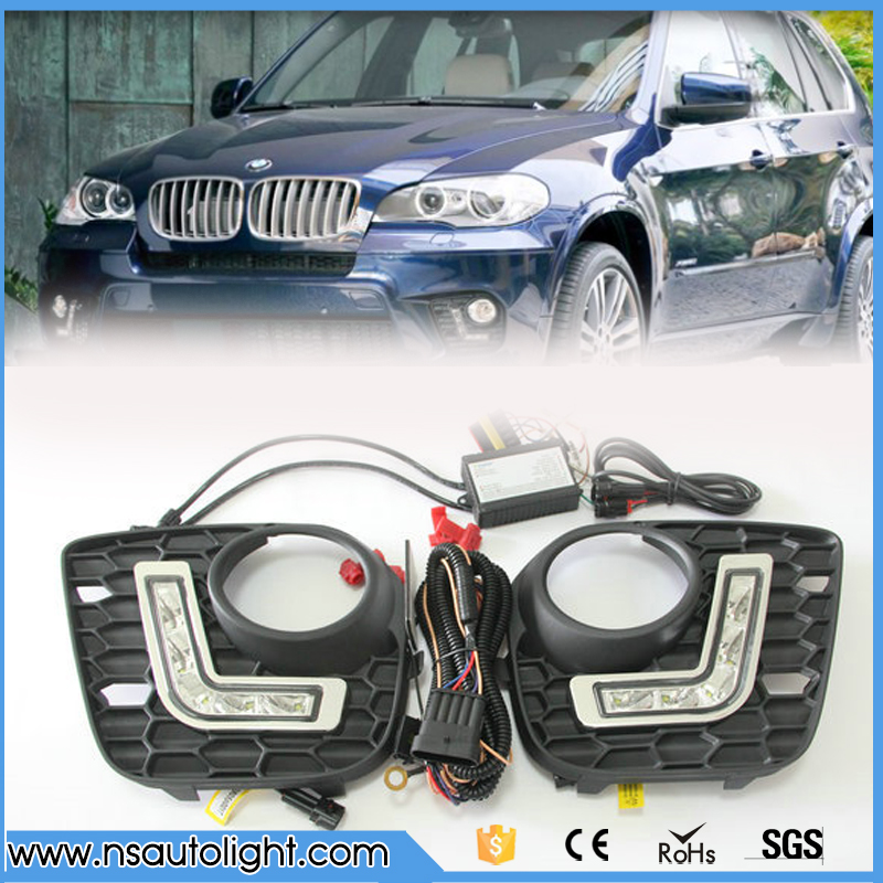 LED DRL for BMW E70/X5 M-tech 11-13 led daytime running light dimmable led driving lamp fog light  position light free shipping led drl daytime running fog lights with pole for bmw 5 series f10 10 m tech m technik daylight fog led head lamp