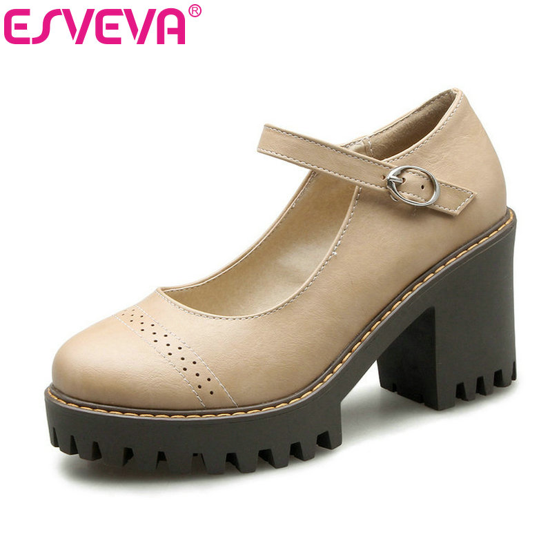 ESVEVA 2017 Platform Spring Autumn Shoes Square High Heel Women Pumps Round Toe Buckle Strap Sweet PU Fashion Shoes Size 34-43 xexy small square toe medium heels natural leather women shoe spring autumn buckle strap dance party sweet platform women pumps