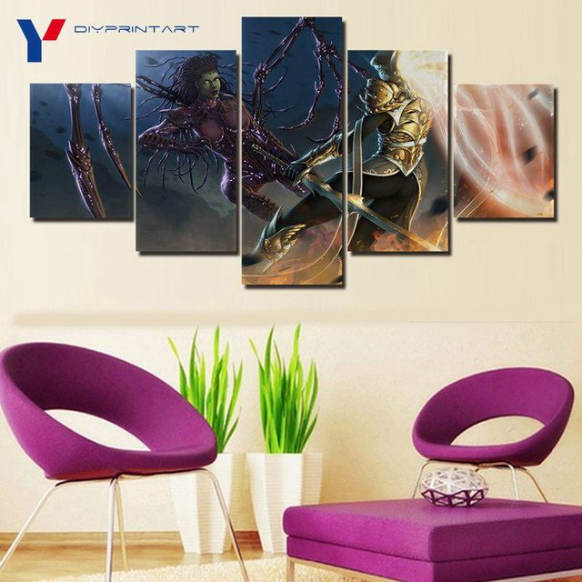 Starcrafts Diablos Characters 5 Panels Decorations for Home Game Poster Wall Painting Living Room A0985 2