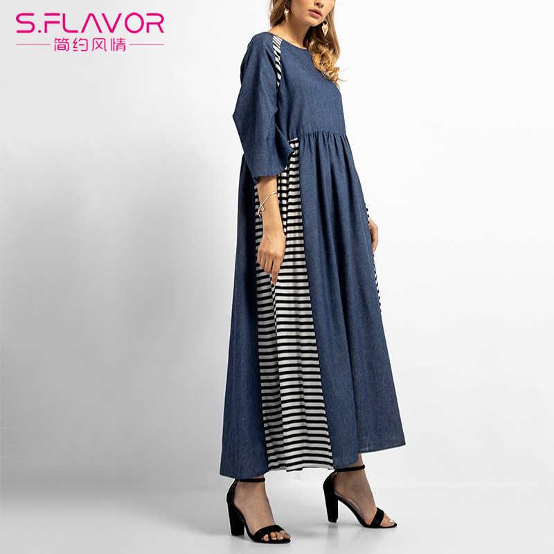 S. FLAVOR Новое джинсовое платье для женщин Повседневное Половина рукава длинное лоскутное Полосатое платье в пол модные элегантные Vestidos