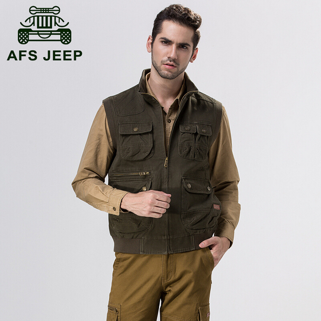 AFS JEEP 2015 Autumn/Winter leisure Cargo Vest 100% Cotton Men's cotton Motorcycle Waistcoat,Fall 2015 Sleeveless Jackets