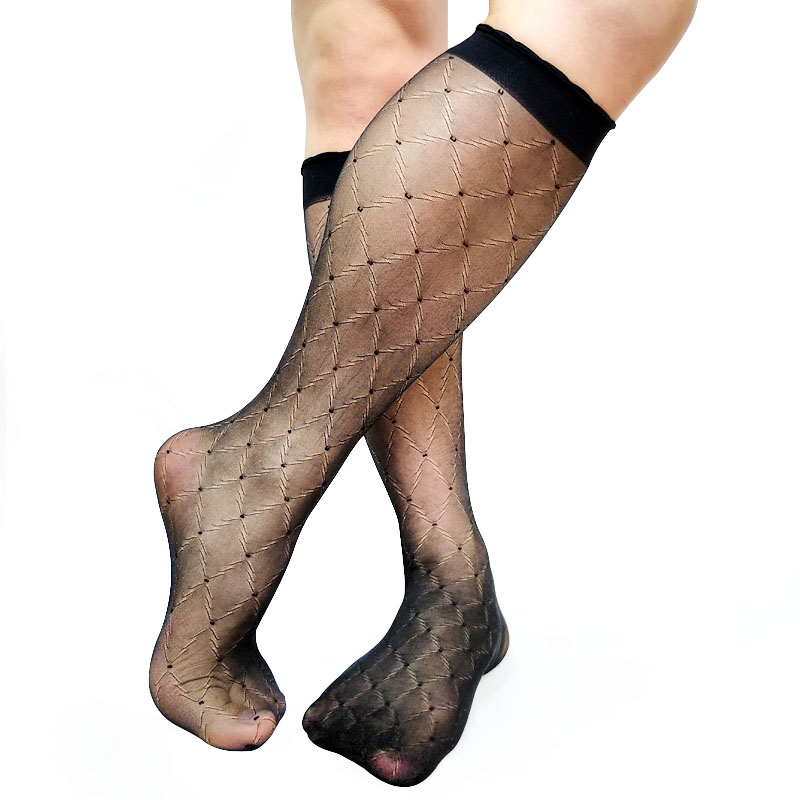 Mens Nylon Silk Socks For Leather Shoes Ultra Thin Sheer Softy See Thru Sexy Fetish Collection Male Stoking Hose