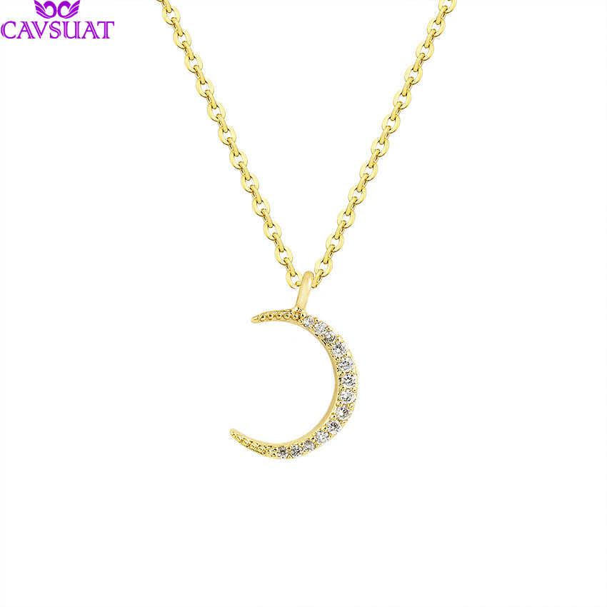 Elegant Muslim Crescent Moon Pendant Necklace For Women Paved CZ Crystal Charm Islam Jewelry Birthday Gifts Collane Donna