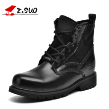 Zsuo Black Working Safety Boots Mens Ankle Military Boots Fashion Original Leather Motocycle Boots Winter Safety Shoes Desert