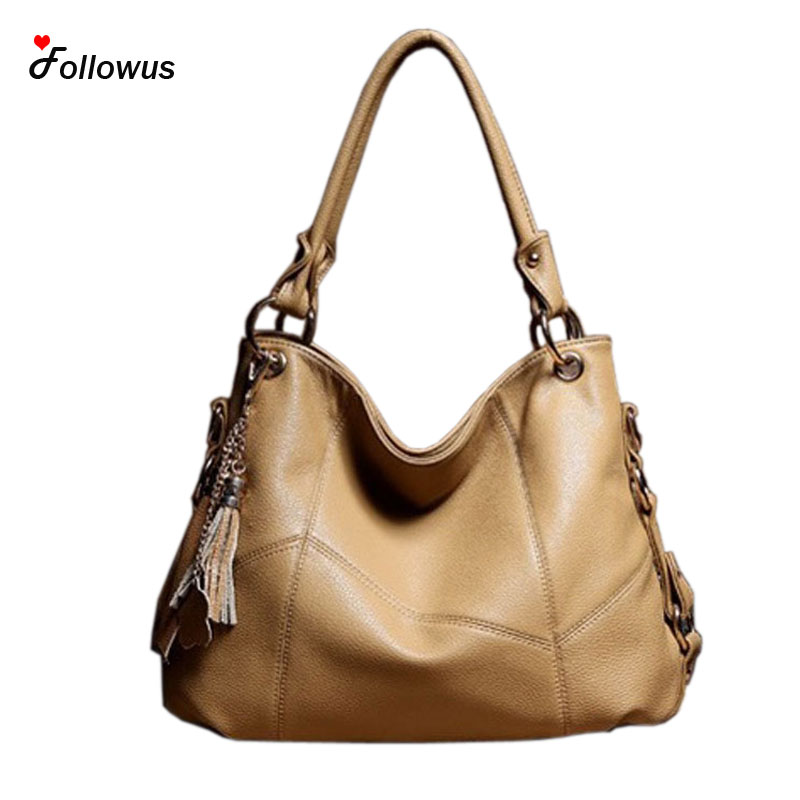 2016 Hot European American Style Fashion Fancy Women Oil Wax Leather Messenger Bag Hobo Tassel Tote