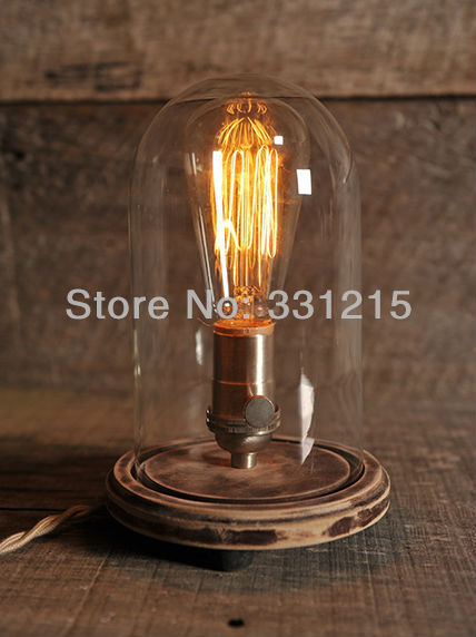Vintage cloche jar table lamp Rustique lampe industrielle Edison lampe ampoule Steampunk Antique naturel bois de 5 Bon Marché Lampe Cloche Kqk9