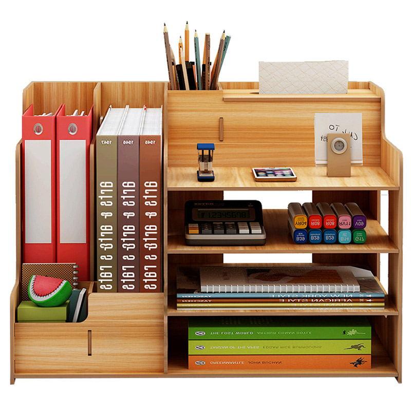 Large Multi-Function DIY Desk Storage Racks Office Supplies File Documents Organizer Shelf Multi-Layer Wooden Bookshelf