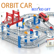 New ABS orbit car 3D Two-layer Spiral Track Electric Rail Car for Children Roller Coaster Toy Gift Educational toys Gift Package