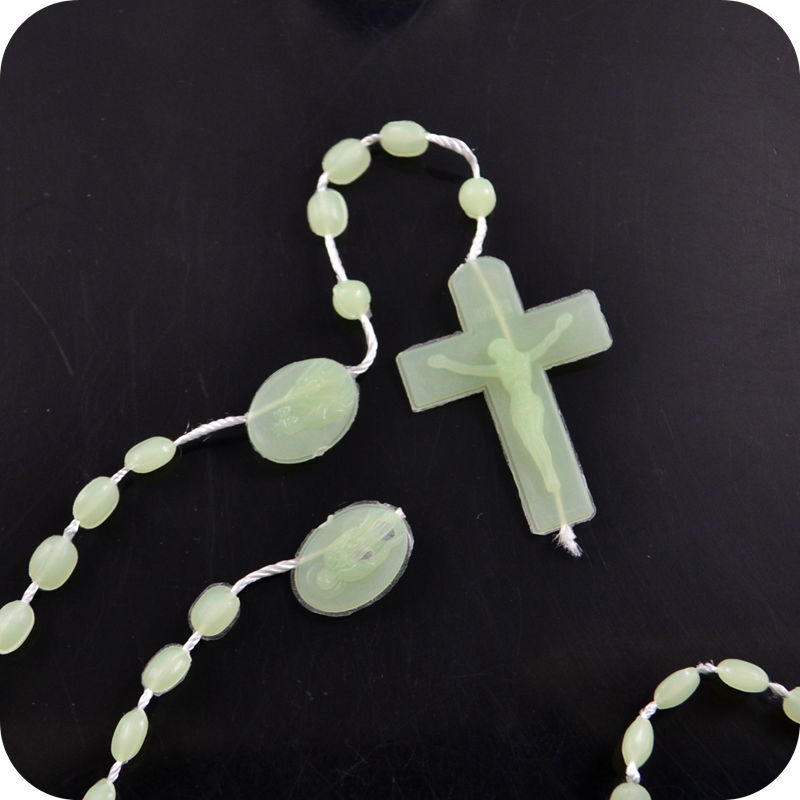 glow in the dark rosary necklace for catholic