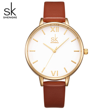 SK Luxury Brand Watch Women Fashion Brown Leather Strap Watches Elegant Ladies Ultra Slim Quartz Wrist-Watches Montre Femme