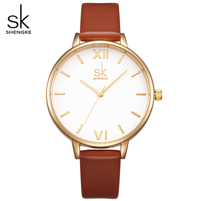 4f39d4de56ec4 SK Luxury Brand Watch Women Fashion Brown Leather Strap Watches Elegant  Ladies Ultra Slim Quartz Wrist