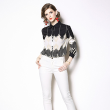 ee6ea7b5b28d39 Women Blouses 2019 Spring Long Sleeve Turn Down Collar Striped Print  Baroque Shirt Blouse Casual Tops