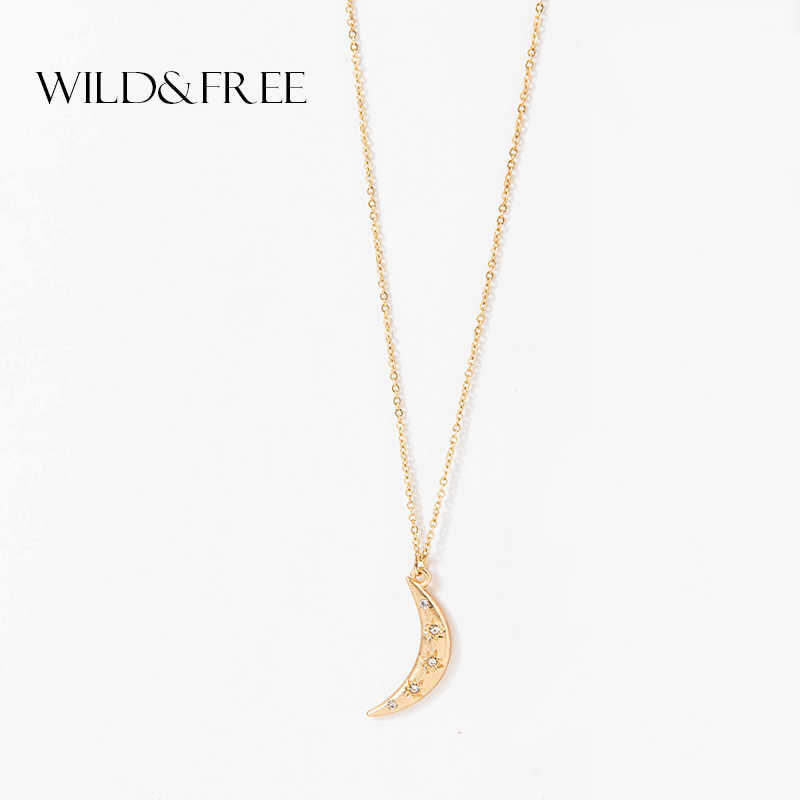 Wild&Free Bohemian Moon Pendant Necklace Women Gold Color Crescent Choker For Women Metal Rhinestone Boho Collar Necklaces