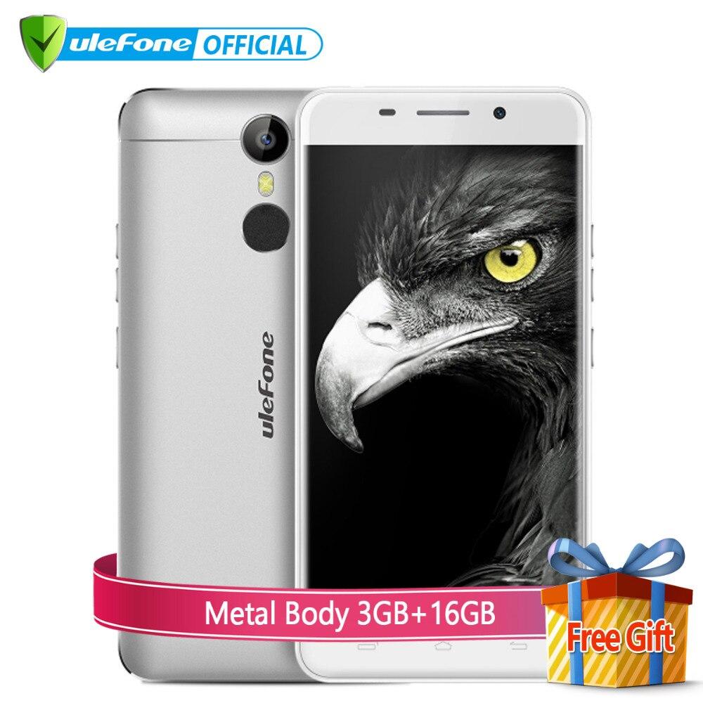 Цена за Ulefone металла 4 г мобильный телефон 5 дюймов hd ips mtk6753 octa ядро Android 6.0 3 ГБ RAM 16 ГБ ROM 8MP Глонасс Отпечатков Пальцев ID Мобильный телефон