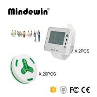 Mindewin 2PCS LED Screen Horloge Pager M-W-1 en 20 STUKS Tafel Gesprek Knop M-K-4 Ober Belknop Restaurant Server paging-systeem
