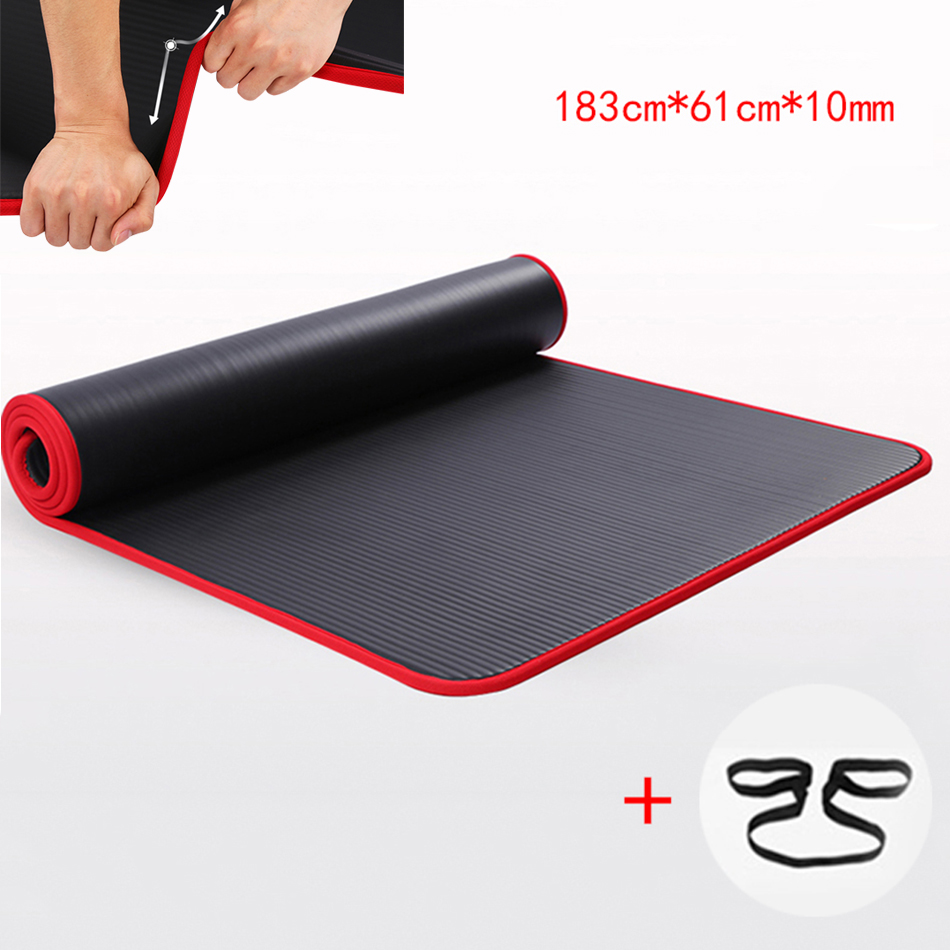 183cmX61cmX10mm Extra Thick High Quality NRB Non-slip Yoga Mats For Fitness Environmental Tasteless Pilates Gym Exercise Pad wit