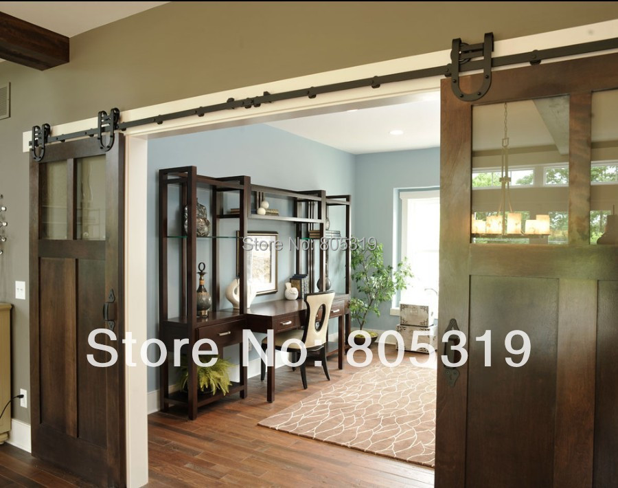 Industrial Horseshoe Barn Door Hardware Steel Wood Sliding Barn Door Hardware Set Double Sliding Barn Door Kit