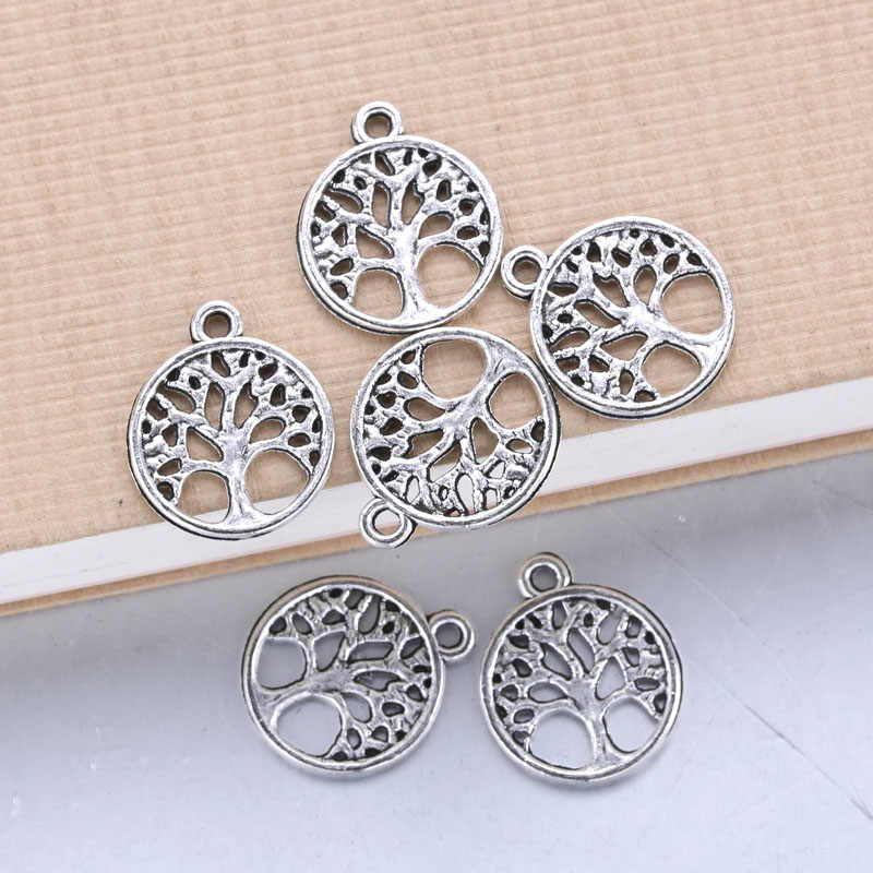100pcs 15x15mm Antique Silver life Tree Trendy Charms Necklace Pendant Jewelry Accessory Making Man Women Retro Style Jewelry
