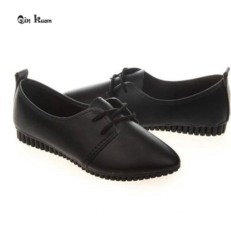 Qin Kuan New Spring Women Shoes Pointed Toe Plus Size 35-39 Ladies Women PU Leather Flat Doug Shoes