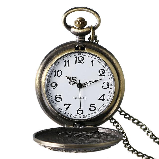 Bronze Steampunk Vintage Retro Bronze Evil Dragon Fire Quartz Pocket Watch Necklace Pendant Men Women Chain Birthday Gift