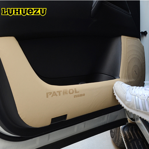 4pcs 2013-2017 Car Door Anti-Dirty Pad Anti Kick Mat For Nissan Patrol Y62 Armada Accessories new arrival car auto care seat back protector case cover for children baby kick mat mud clean plastic transparent anti kick pad