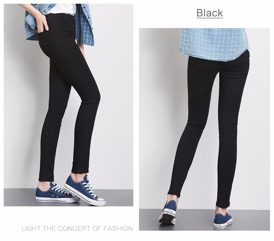 Women Plus Size Casual Slim Stretch Cotton Denim Jeans Blue black 38