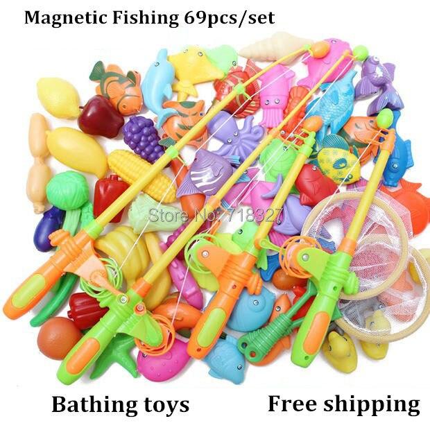 Puzzle jeu de pêche magnétique jeu de jouets de bain 69 pièces/ensemble 4 pôle de pêche pêche été bébé jouets cadeau de fête des enfants livraison gratuite