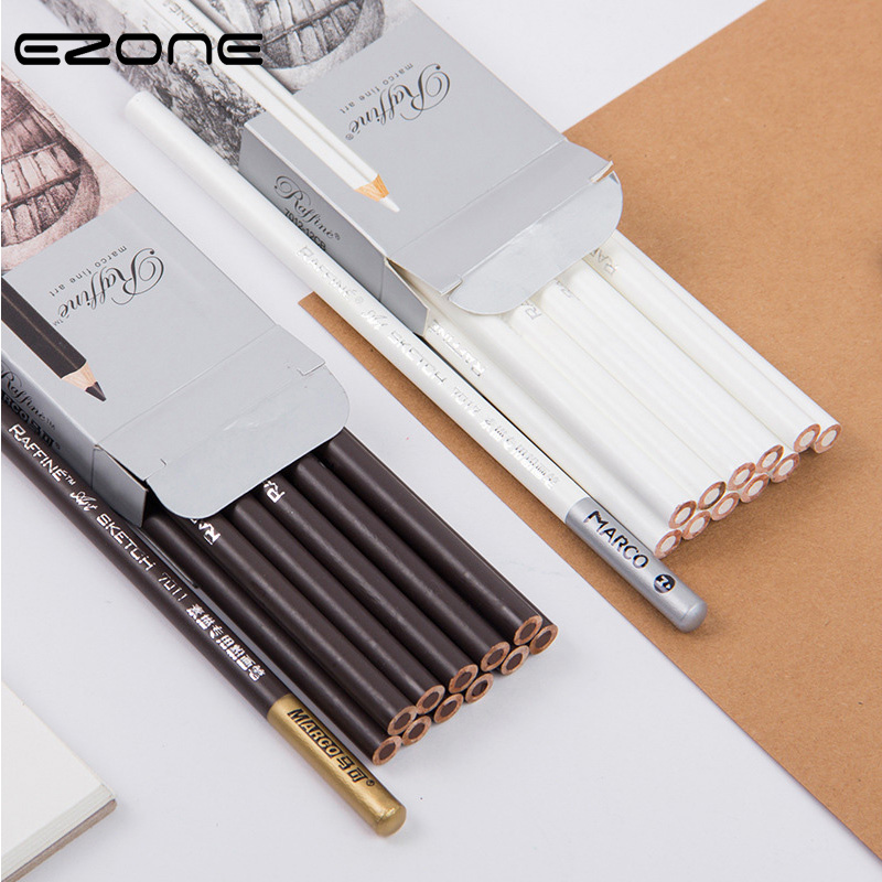 EZONE Sketch Pencil Soft Safe Non-toxic Standard Brown/White Pencil Painting Professional Drawing Sketching Office School Supply
