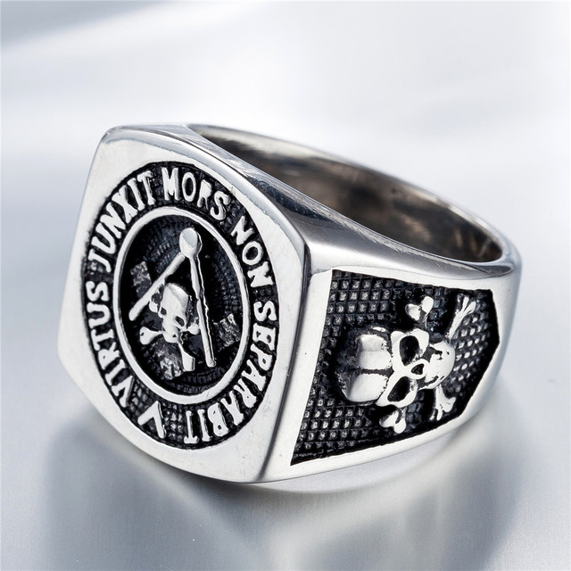 STAINLESS STEEL FREEMASON SKULL RINGS