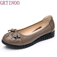 Original Handmade Autumn Women Genuine Leather Shoes Cowhide Loafers Real Skin Shoes Folk Style Ladies Flat