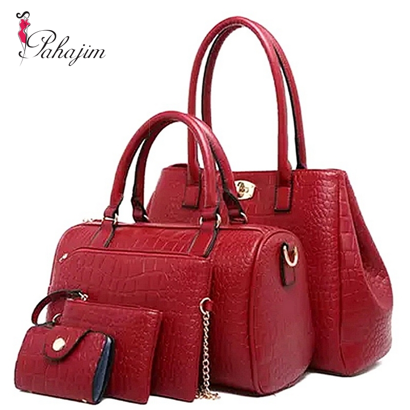 Pahajim new women bag fashion trend in the new crocodile lines Boston lash bag set one shoulder hand five packages