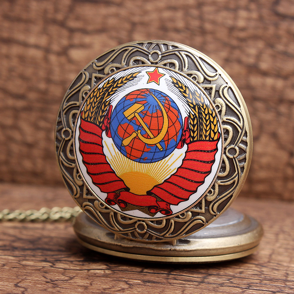 Vintage CCCP Bronze Red Colorful New Soviet Sickle Hammer Style Quartz Pocket Watch Necklace Men Women FOB Chain Pocket Watches retro skull death hold sickle pocket watch fashion mens womens fob chain bronze devil quartz fashion halloween funny watch gifts