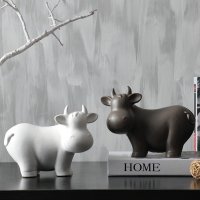 Nordic Minimalist Black/white Ceramic Cattle Figurines & Miniatures Cows Ceramic Crafts for Home Decor Photography Props
