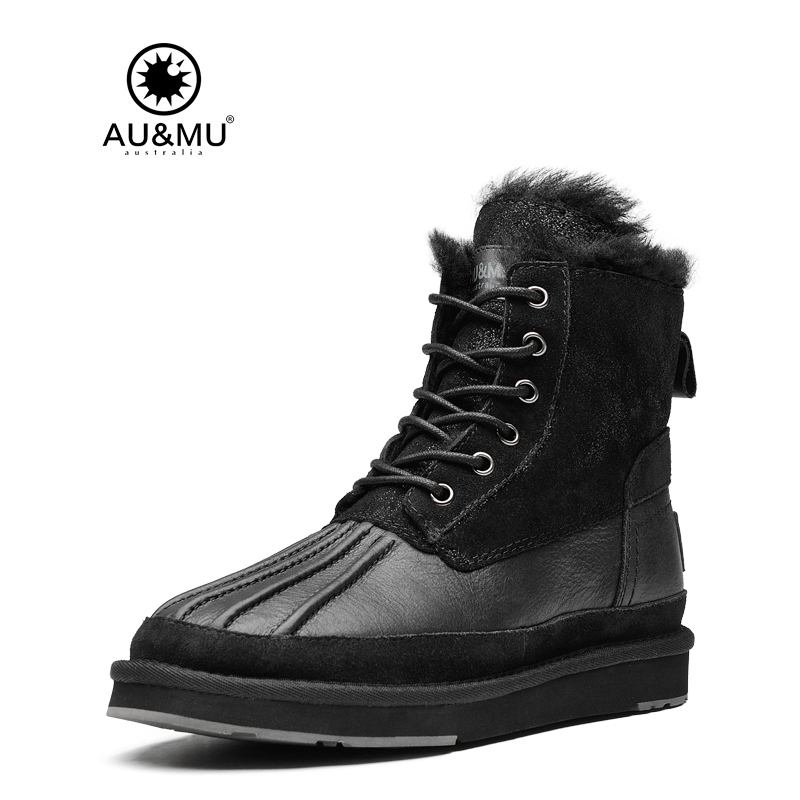 2017 AUMU Australia Leather Suede Lace-up Round Toe Rubber Soles Snow Winter Boots UG N353 2018 aumu australia brand new leather