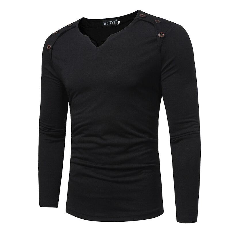 T Shirt Men 2017 Spring Autumn New Long Sleeve V Neck T Shirt Men Brand Clothing