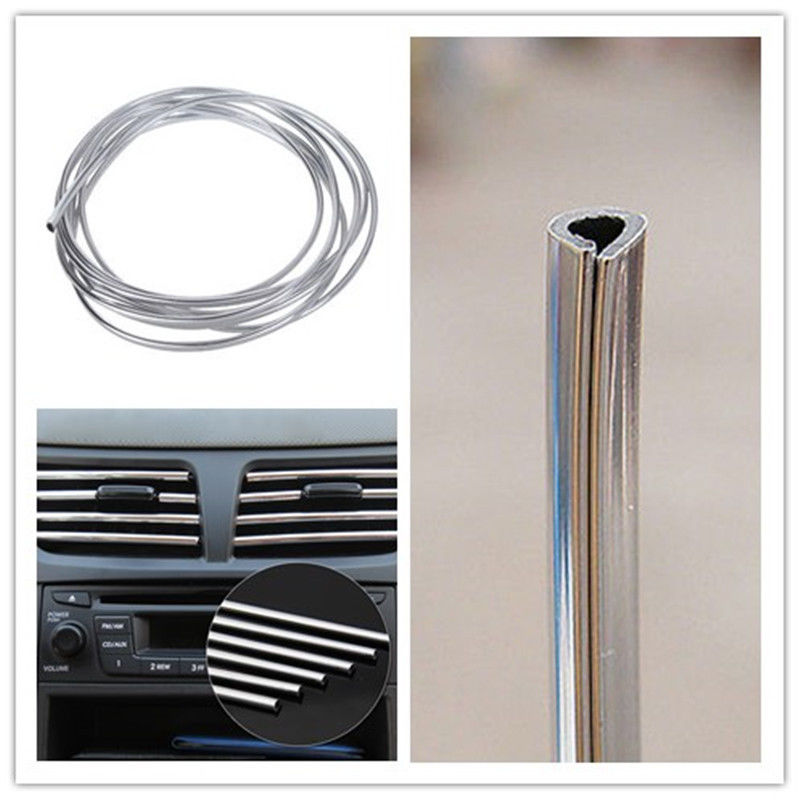 3metres x 6mm car styling auto car interior decor door chrome moulding trim strip u style. Black Bedroom Furniture Sets. Home Design Ideas