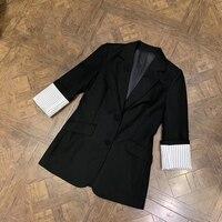 Формальная модная черная куртка для женщин с длинным рукавом пальто для леди 2019 Новая женская модная куртка
