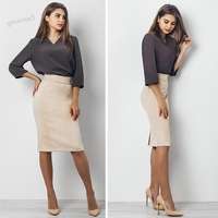 Sexy Fashion Women Vintage Style Faux Suede One Step Skirt OL Lady Elastic High Waist Solid